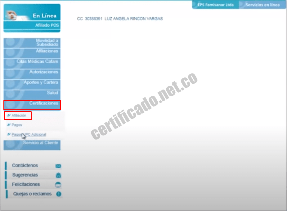 Procedimiento de descarga del Certificado de afiliación EPS Famisanar